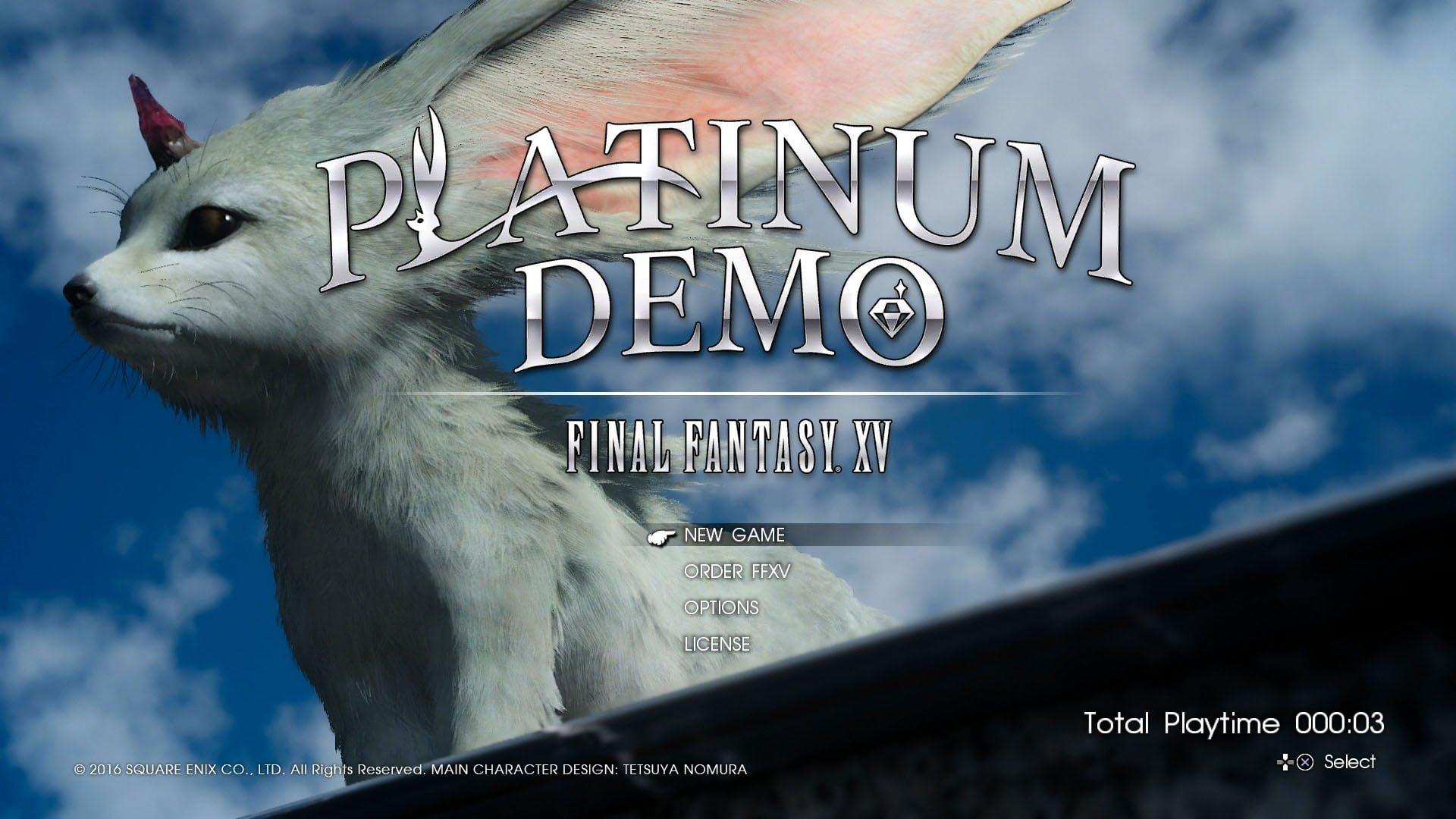 Final Fantasy XV Uncovered Platinum Demo